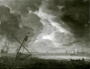 Stille zee met schepen