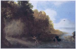 Kustlandschap met Coronis die in een kraai verandert om aan Neptunus te ontkomen (Metamorfosen 2:569)