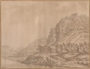 Rijngezicht met links Rolandseck en rechts Drachenfels