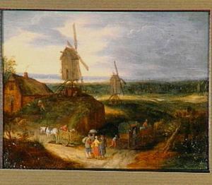 Boeren en reizigers op een landweg langs twee molens