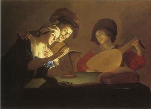 Musicered gezelschap bij kaarslicht