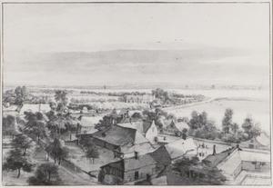 Gezicht op Moerkerken en het dorp Mijnsherenland vanaf de kerktoren