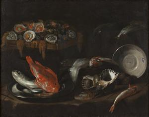 Stilleven met vis en oesters