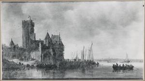 Rivierlandschap met vervallen kasteel op de linkeroever