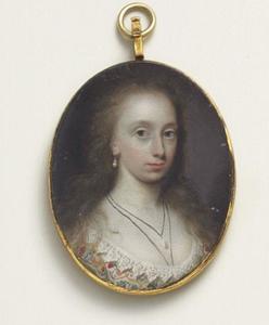 Portretminiatuur van een jonge vrouw
