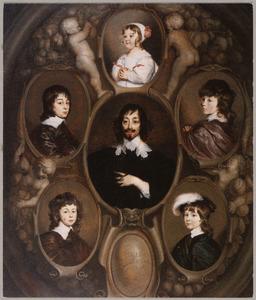 Familieportret van Constantijn Huygens (1596-1687) en zijn kinderen Constantijn II Huygens (1628-1697), Christiaan Huygens (1629-1695), Lodewijk Huygens (1631-1699), Philips Huygens (1633-1699) en Susanna Huygens (1637-1725)
