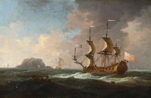 Engels oorlogsschip in woelig water, met andere schepen en een eiland in de achtergrond