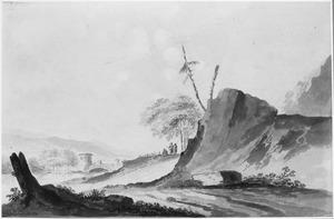 Berglandschap met rivier en brug