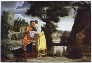 De ontmoeting van Jacob en Rachel bij de bron (Genesis29:10-12)