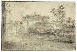 Landschap met rivier, brug en bebouwing