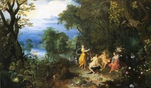 Boslandschap met Diana die haar vangst overhandigd aan gezellen van Bacchus