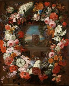 Bloemenkrans met een doorkijk naar een landschap, in het midden een rijk gedecoreerd vat