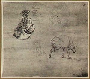 Zittende boerin en zich krabbende koe