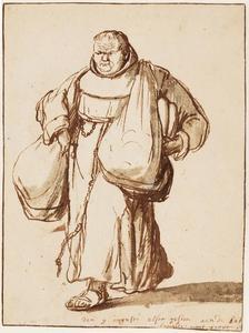 Monnik met broden en zadeltassen