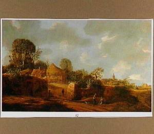 Landschap met een boerenhofstede; op de achtergrond een dorp