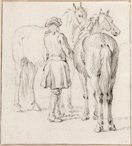 Schets van een ruiter met twee paarden