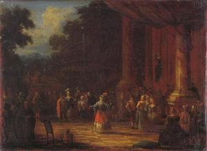 Dansers voor een paleis