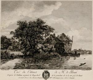 Rivierlandschap met een huis en hooiberg