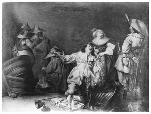 Interieur van een wachtlokaal met soldaten en een jonge vrouw