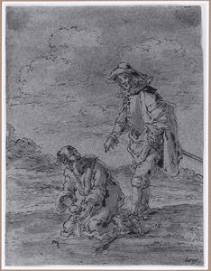 Een rechter probeert zijn bezoedelde handen schoon te wassen (Suenos 1641, boek III, zesde droom)