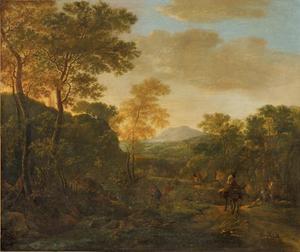 Italianiserend berglandschap met figuren