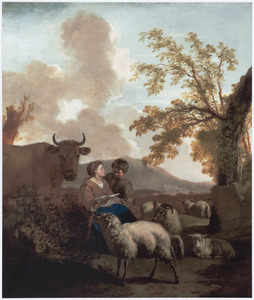 Zuidelijk landschap met herderin bij haar kudde, een brief voorlezend aan een jongen