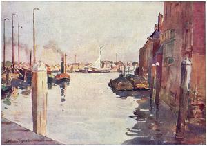 Gezicht op de ingang van het kanaal,  'Voorstraathaven'