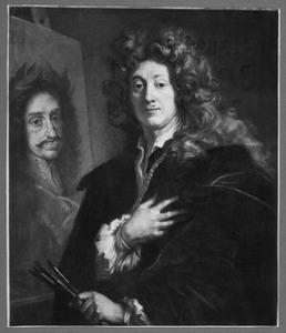 Zelfportret, met portret van Leopold I (1640-1705), Rooms-Duits keizer