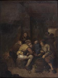 Boeren etend en drinkend rond een ton in een herberg