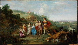 Portret van de zeven kinderen van keurvorst Frederik V van de Palts (1596-1632) en Elizabeth Stuart (1596-1662)  in 1628