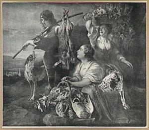 Twee meisjes en een  jongen met jachtbuit en vruchten in een landschap