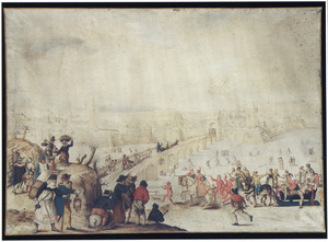 Vrolijk gezelschap met arreslee en  figuren op het ijs buiten de wallen van een stad (Brussel?) (de maand februari)