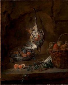 Stilleven met dode patrijs, schaal pruimen en een mand met peren