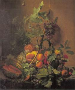 Stilleven met een meloen, pruimen, perziken, druiven en overig fruit