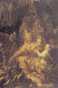 Tomyris stopt het hoofd van koning Cyrus in een vat bloed