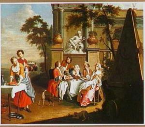 Elegant gezelschap aan tafel in de tuin van een paleis