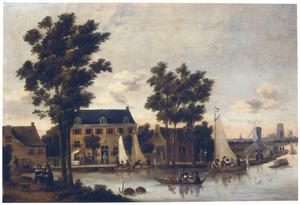 Rivierlandschap met gezicht van uit het noord-oosten op het Zwaenseiland bij Rotterdam