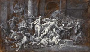 Atalja, koningin van Juda, vermoord voor de poort van de tempel van Baal (?)