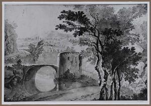 Berglandschap met ruïne van een brug over een rivier
