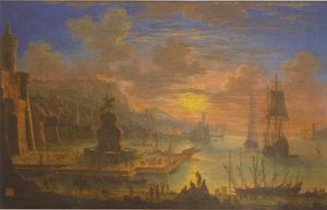 Zuidelijk havengezicht met een ruiterstandbeeld en een vesting
