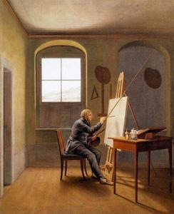 Caspar David Friedrich in zijn atelier