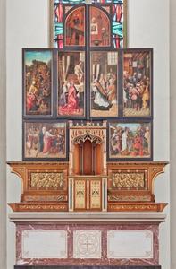 Het verzamelen van de manna, de Gregoriusmis, Arma Christi (buitenzijde linkerluik); Arma Christi, de Gregoriusmis, het Laatste Avondmaal (buitenzijde rechterluik)
