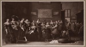 Elegant musicerend en converserend gezelschap in een interieur