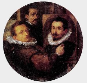 Zelfportret van Hans von Aachen (1552-1616), met portretten van Paulus van Vianen (1570-1613) schilderend, en Adriaen de Vries (1556-1626) in de achtergrond