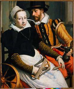 Een vrouw bij een spinnewiel en een man met een kan zittend in een interieur