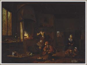 Interieur met een alchemist bij de haard, een knecht met een blaasbalg en een moeder met twee kinderen