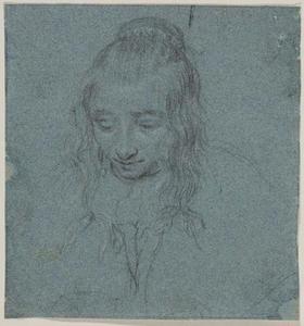 Studie van een jonge vrouw met gebogen hoofd