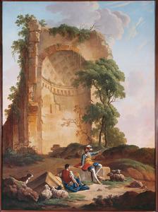 Landschap met ruïne en twee mannen in middeleeuws kostuum