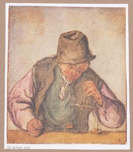 Man met weegschaal, bij een toonbank