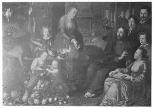 Christus in het huis van Martha en Maria met portrait historié van een familie